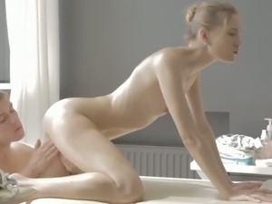 Lying on her belly sexy oiled girl Sofia Russo pleases masseur with a good BJ