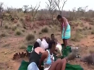 wild outdoor african fuck party