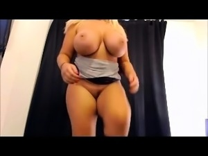 Sensual blonde milf with big pale boobs licks balls in POV