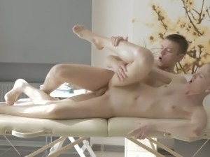Slavic girl Sofia Russo gets oiled and poked from behind so damn well