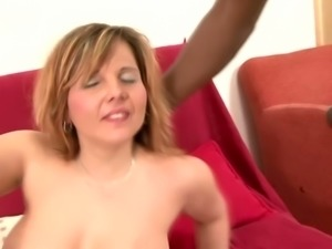 Perverted huge breasted housewife Maxia stands on knees to give BJ to black man