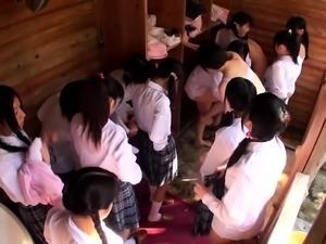Naughty Japanese schoolgirls sharing their desire for cock