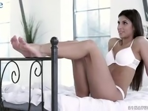 Attractive Hungarian nympho Angela Allison gives footjob before being fucked