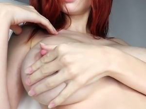 Helga Grey is fascinating red haired beauty who loves to pet her twat