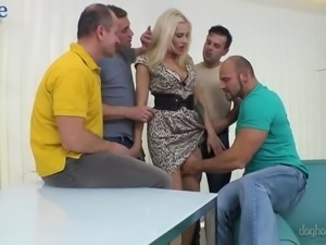 Dirty big breasted whore Brittany Bardot has nothing against gangbang