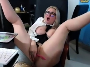 Big titted blonde housewife milf sucking and rubs her boobs