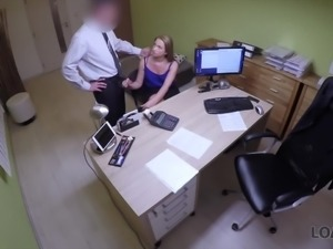 Quite bootyful chick Nata gets fucked mish on the table by loan debtor