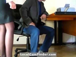 Hidden camera filmed a humble secretary