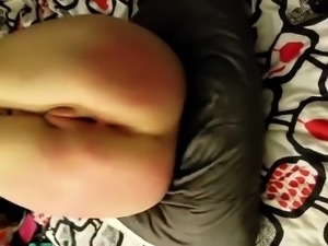 Amateur girl has a long rod invading her shaved pussy in POV