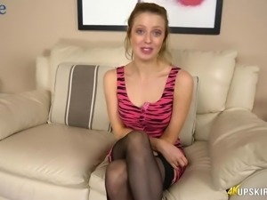 Hot and kinky upskirt show of ardent and lonely nympho Jayne