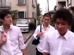 Voluptuous Asian milf gets fucked by a group of young guys