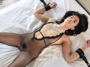 Super duper hot babe Adrian Hush gets her Latina pussy fucked missionary