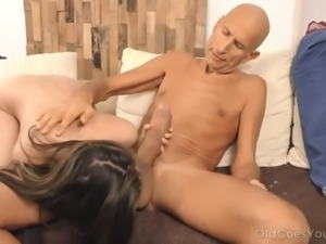 Old Goes Young - Well-hung stud cums all over a petite