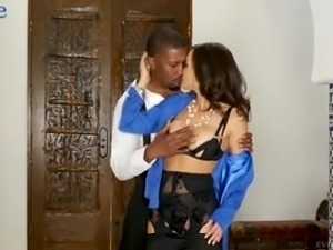 Bosomy Lisa Ann is really happy to suck delicious black lollicock of her stud