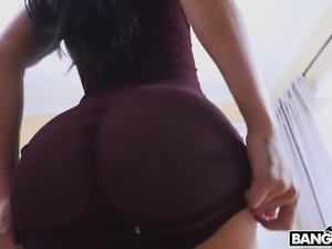 Tattooed happy brunette Amia Miley is fond of riding dick and gets fucked doggy