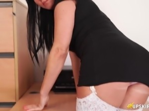 It is time to jerk off a bit during nice upskirt solo show of lusty Shelly