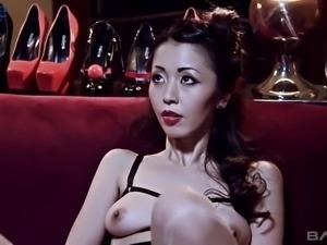 Japanese slut Marica Hase loves it really hard during random MFF threesome