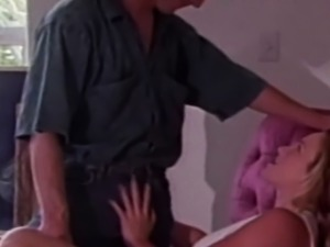 Vintage couple seduces each other into romantic sex