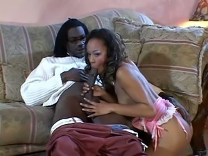 Smoking hot ebony lust is so high about a huge black monster cock