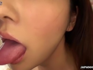 Lovely Japanese Nami Honda spreads legs to be poked missionary style
