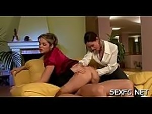 Exquisitely hot chicks enjoy fully dressed sex with men
