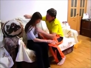 Slutty Russian mom seduces a young guy to drill her pussy