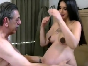 Curvy young brunette has an older man banging her fiery slit