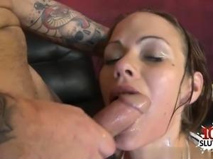 Hot pornstar throat gag and facial