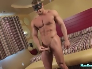 sexy muscled hunk solo masturbates