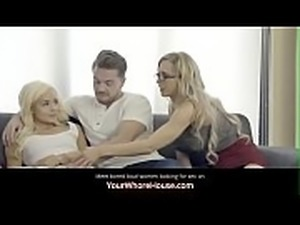 Two Stepsisters fuck stepbrother - family threesome