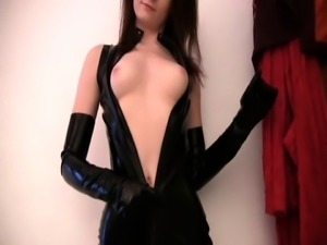 Slender amateur nympho in latex gets pounded hard doggystyle