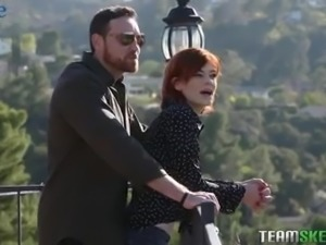 Romantic walk ends up with really steamy 69 sex with redhead Ava Little
