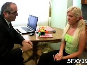 Babe is having wild 3some with stud and elderly teacher