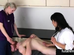 Girls bang dudes anus with big strap dildos and splatter jui