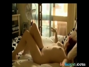 Redhead teen with nice tits masturbates to orgasm