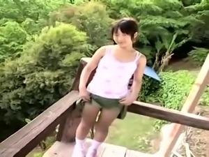 Japanese teen sucks outdoor