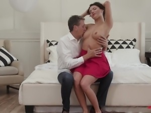 Attractive hot like fire Vanessa Decker gets poked doggy and mouthfucked