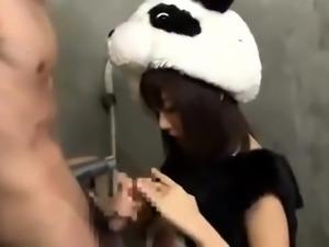 Naughty Oriental teen in a funny costume fucks a stiff rod