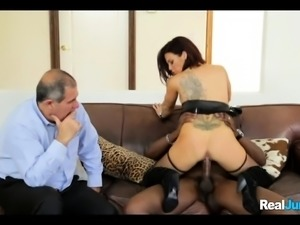 Wife Cuckolds with Black guy in front of Her Husband