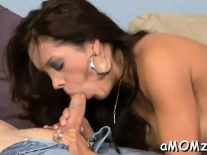 Hot mom welcomes hard cock to enter her soaking slit