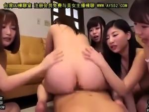 Appealing Asian babe Nina in kinky bondage group sex