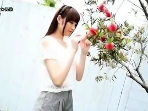 Hot japanese teen rides a big dildo in solo video