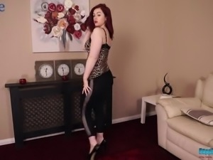 Fabulous buxom redhead Jess is ready to play with her boobies
