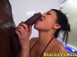 Horny asian slut with big tits taking hard long bbc