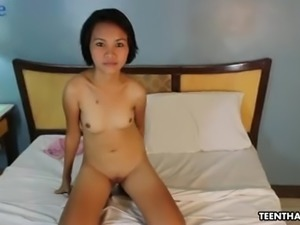 Titless but cute Asian slut Maymay gets her tight bald pussy fucked hard