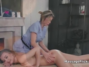 Oily ass licking and fingering lesbian massage
