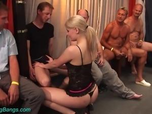 Pallid auburn whore in sexy stuff Elina sucks lots of strong boner cocks