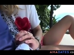 Casual Public Handjob With Cumshot On Her Feet