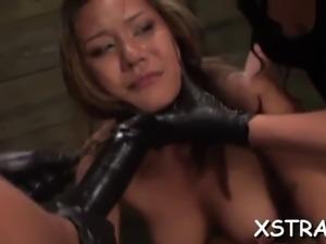 Rough bondage makes brunette squirt