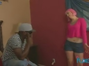 Wearing pink wig white trash whore is so into riding strong BBC
